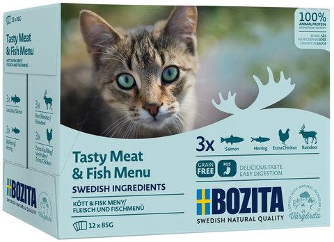 Bozita Pouch Meat & fish in sauce Multibox Консервы для взрослых кошек мясной и рыбный микс (лосось, сельдь, курица, олень), кусочки в соусе