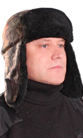 Шапка- ушанка тк. Флис Лес с меховой опушкой на флисе