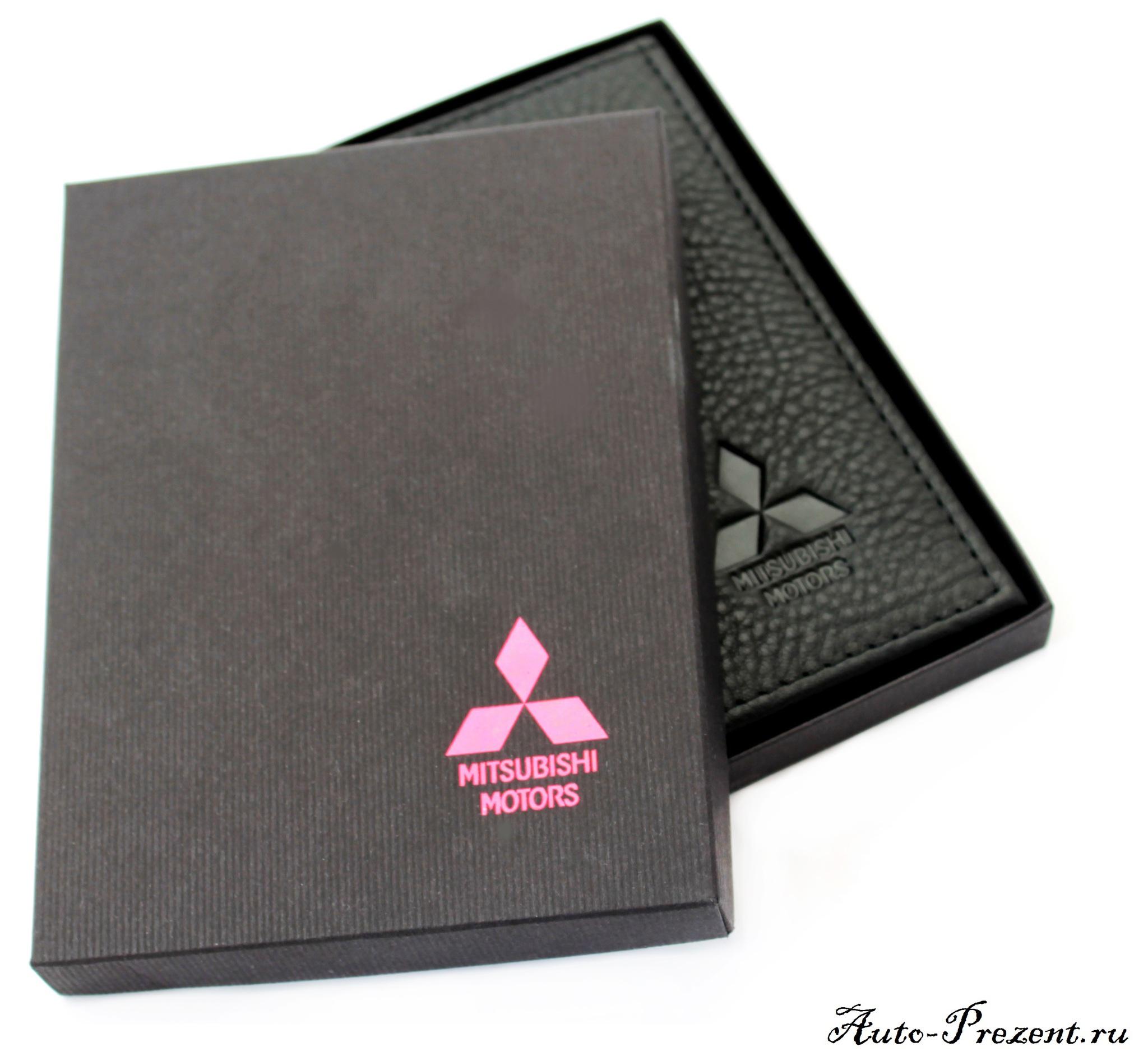 Портмоне для автодокументов из натуральной кожи с логотипом MITSUBISHI