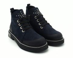 Темно-синие ботинки из натурального нубука