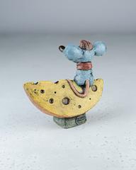 Скульптура из шамотной глины «Мышонок на Луне», 15х14 см, Falco Ceramic