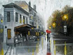 Картина раскраска по номерам 50x65 Дождливая улица города