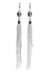 Серьги-каскад бисерные серебристые