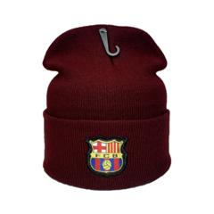 Вязаная шапка с логотипом ФК Барселона (FC BARCELONA) бордовая