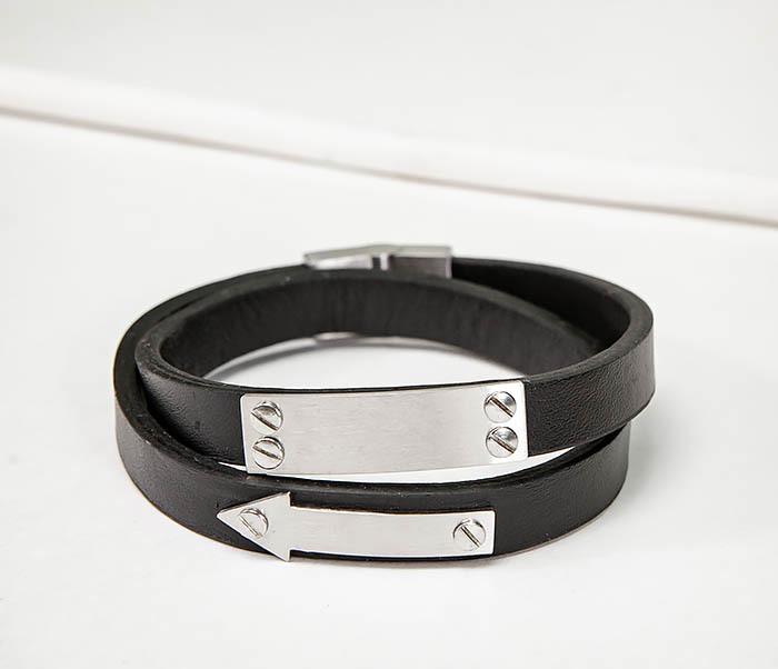 BM572 Кожаный браслет пластиной для гравировки фото 04