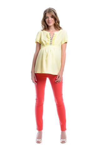 Блуза Х-образного силуэта жатка цвет светло-желтый