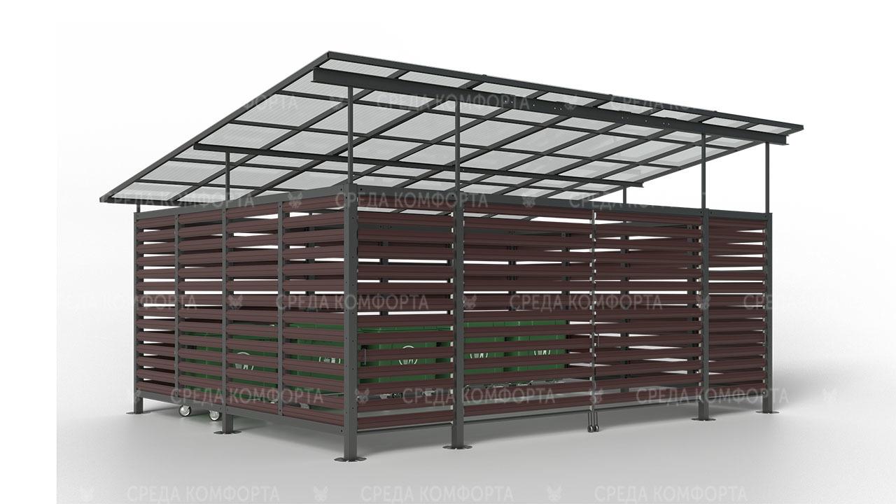 Контейнерная площадка ( с воротами )6000х6000х3000 мм NVS0079