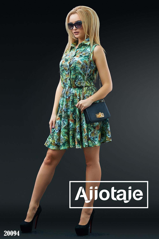 Штапельное платье рубашка с отрезной юбочкой
