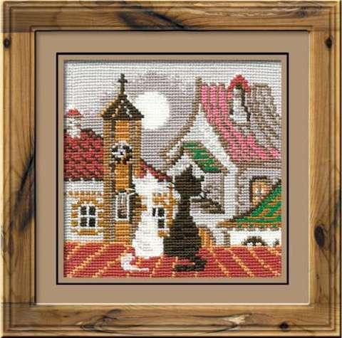 Набор для вышивания крестом «Город и кошки. Весна» (611)