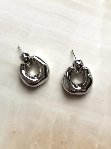 Серьги Бордиа, серебряный цвет