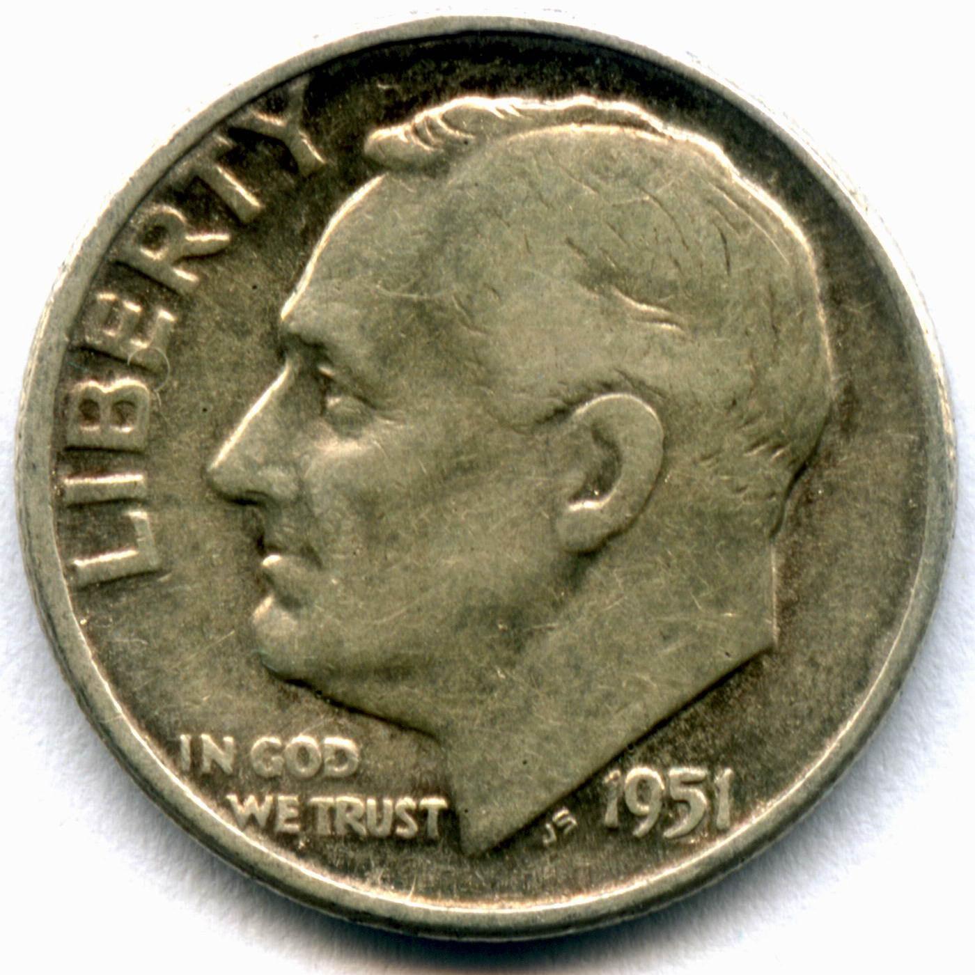 1 дайм (10 центов) 1951. США Серебро F-VF