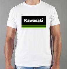 Футболка с принтом Кавасаки (Kawasaki) белая 0013