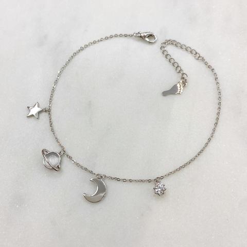 Анклет с подвесками Месяц, Сатурн и Звездочка (серебристый)