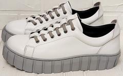 Демисезонные кроссовки женские белые на высокой подошве Guero G146 508 04 White Gray.