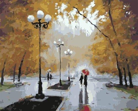 Картина раскраска по номерам 50x65 Пара под красным зонтом в дождливый день