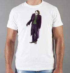 Футболка с принтом Джокер, Тёмный рыцарь (Joker, The Dark Knight, Хит Леджер) белая 007