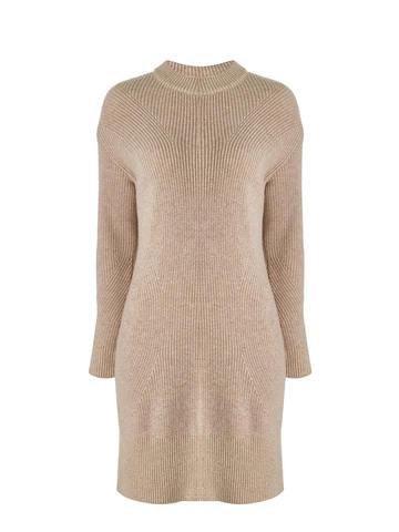 Женское платье бежевого цвета из шерсти и кашемира - фото 5