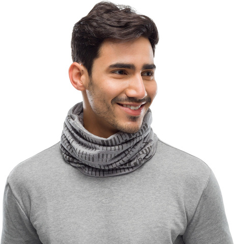 Тонкий шерстяной шарф-труба Buff Wool lightweight Relay Light Grey фото 2