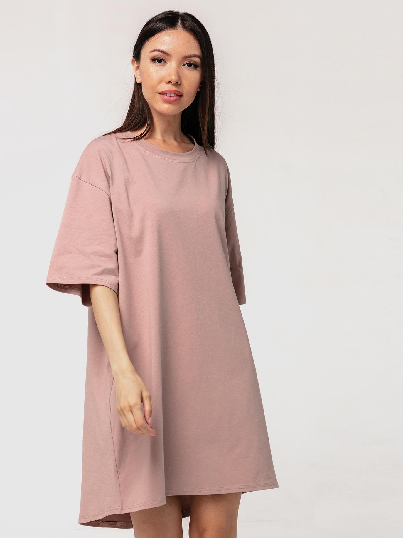 Платье-футболка хлопковое темный визон YOS от украинского бренда Your Own Style