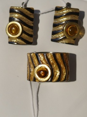 Бенда (кольцо + серьги из серебра)