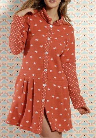 Яркий халат для дома с рисунком 'звездочки'