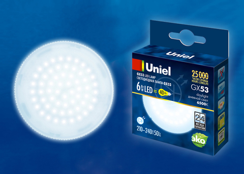 LED-GX53-6W/6500K/GX53/FR PLZ01WH Лампа светодиодная, матовая. Дневной свет (6500K). Картон. ТМ Uniel.