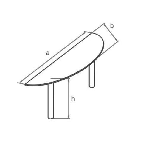Стол приставной торцевой закругленный на двух металлических опорах МОНО-ЛЮКС
