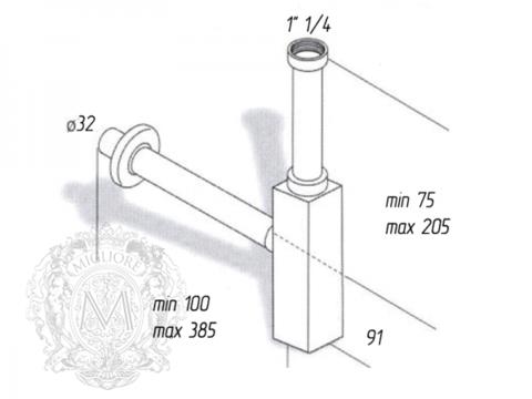 Сифон для раковины квадратный,  Migliore Ricambi  ML.RIC-10.10