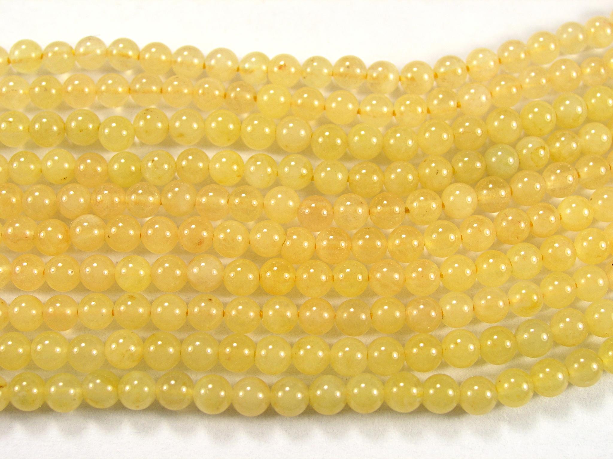 Нить Бисера из жадеита желтого, шар гладкий 3мм