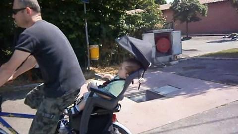 Картинка велокресло Hamax Smiley с замком серый/синий - 2