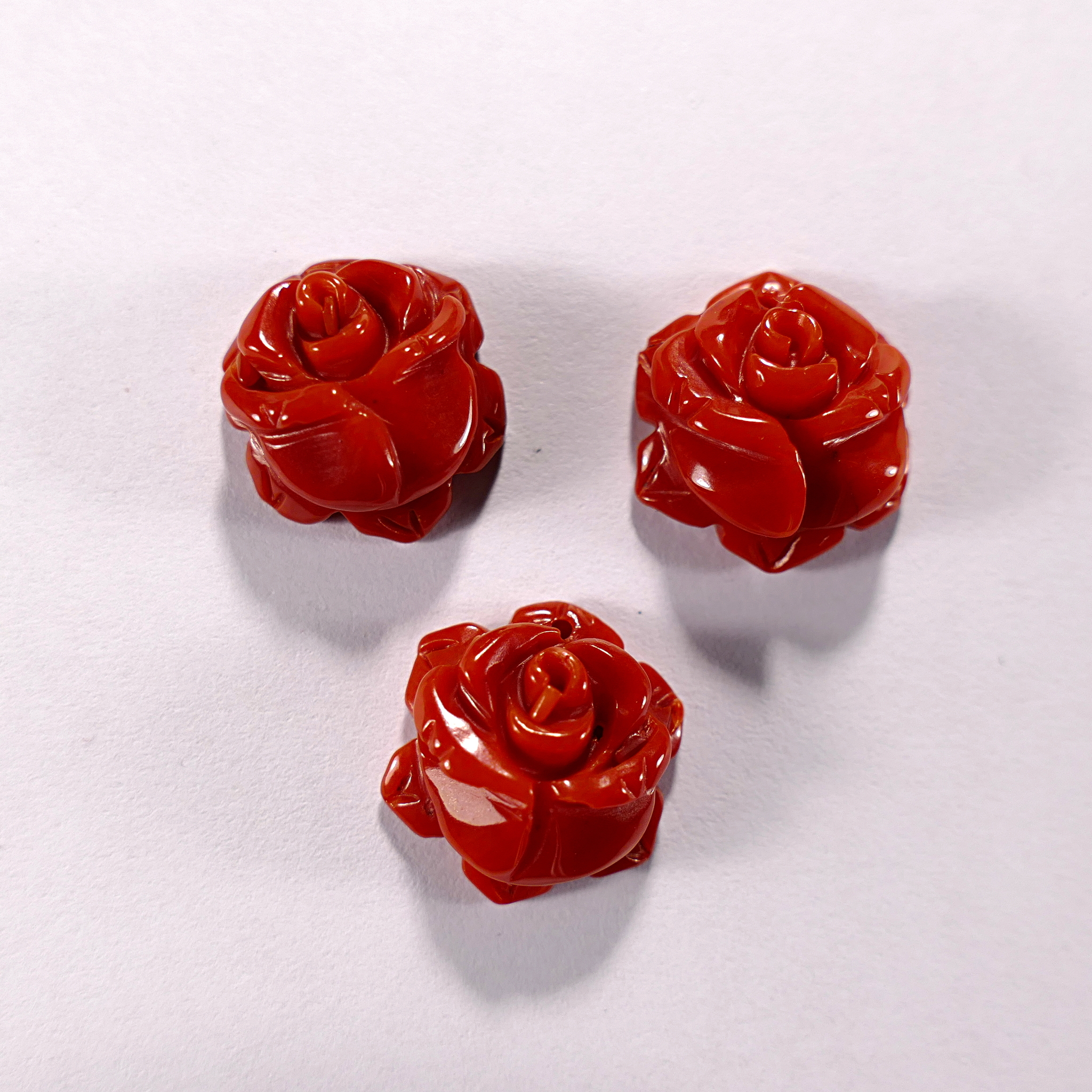 Подвеска из коралла красного облагороженного, Роза, 6x14 мм