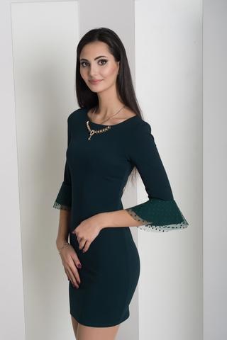 Динара. Облегающее платье с красивым рукавом. Изумруд