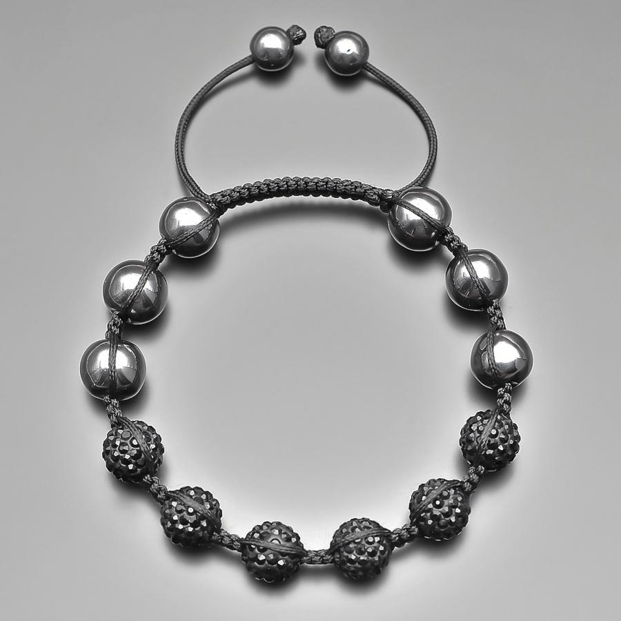Мужской браслет шамбала с чёрными фианитами и камнями гематита Rico la Cara AMX005156