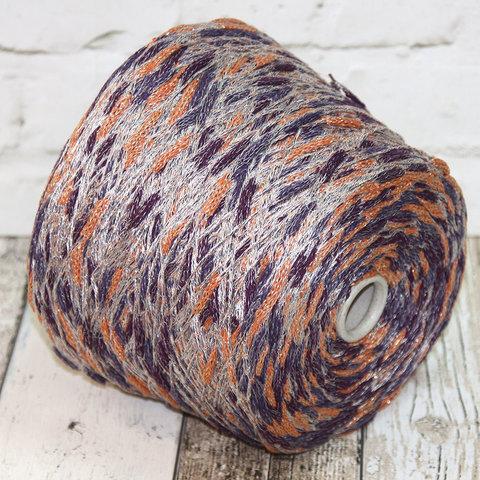 Смесовый шнурок с мериносом и хлопком ALTAMURA оранжево-фиолетовый с золотом