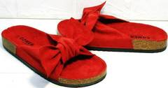 Стильные шлепанцы с пробковой подошвой женские Comer SAR-15 Red.