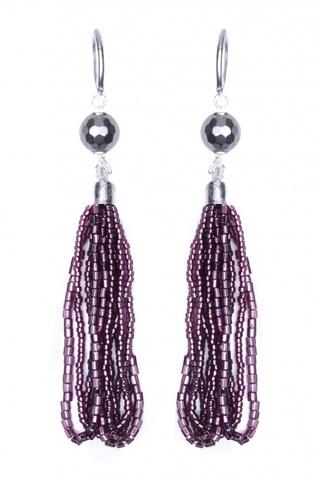 Серьги бисерные фиолетовые длинные