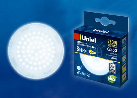 LED-GX53-8W/6500K/GX53/FR PLZ01WH Лампа светодиодная, матовая. Дневной свет (6500K). Картон. ТМ Uniel.
