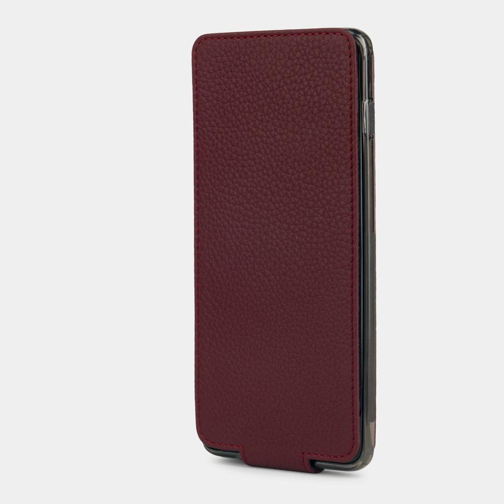 Чехол для Samsung Galaxy S10 Plus из натуральной кожи теленка, бордового цвета