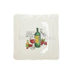 "NEW WINES Square platter  (mod. SQ281 ) | Тарелка обеденная квадратная""ВИНА"" — рисунок 1 Merlot"