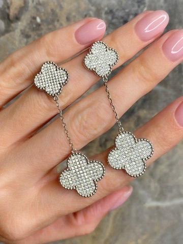 44310-Серьги Trendy из серебра с цирконами -2 мотива