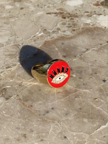 Кольцо-печатка Глаз из позолоченного серебра с красной эмалью
