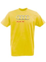 Футболка с принтом Ауди A6 (Audi A6) желтая 008