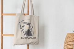 Сумка-шоппер с принтом Нирвана, Курт Кобейн (Nirvana, Kurt Cobain) бежевая 001