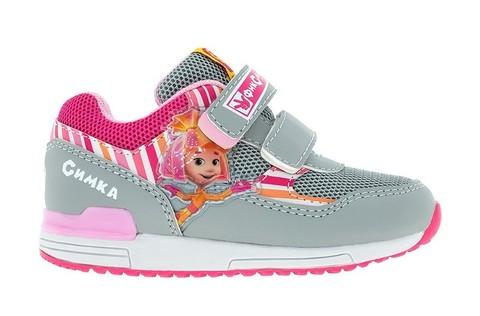 Кроссовки для девочек на липучках Фиксики, цвет серый. Изображение 1 из 5.