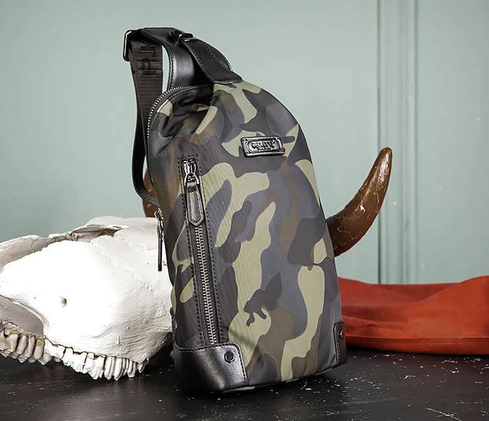 BAG489-3 Тканевая мужская сумка «банан» с одной лямкой фото 03