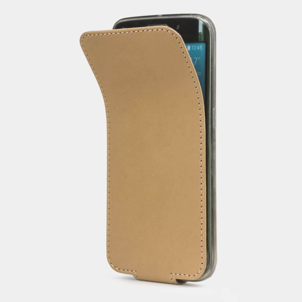 Чехол для Samsung Galaxy S6 edge из натуральной кожи теленка, натурального цвета