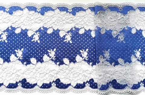 Эластичное кружево, 22 см, ярко-синий и серый, (Арт: EK-1071), м