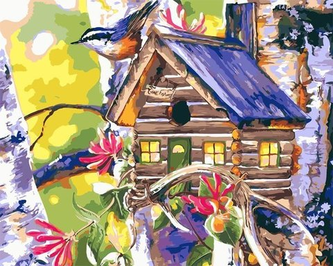 Картина раскраска по номерам 50x65 Птичий домик