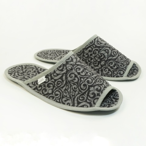Тапочки для дома мужские черные (принт 70-02) Adili