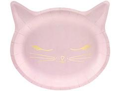 Тарелка фигурная, Кошка розовая, 22см, 6 шт, 1 уп.